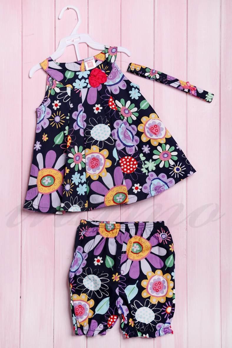 Комплект: платье, шортики и повязка, код 56178, арт 211