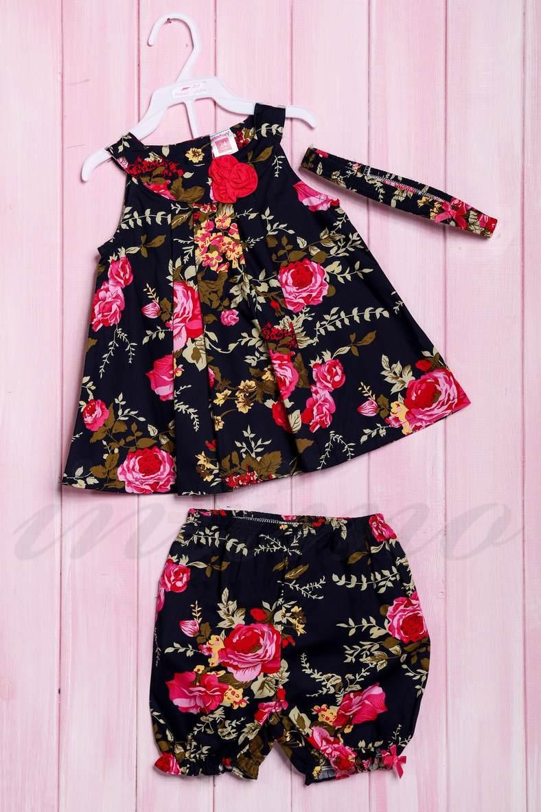 Комплект: платье, шортики и повязка, код 56180, арт 213